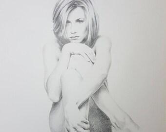 Jennifer Aniston - Portrait in pencil - 001