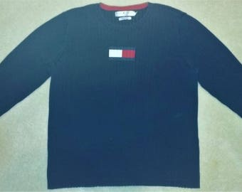 90s Tommy Hilfiger Flag Logo Ribbed Navy Blue Crewneck Sweater Size 2X