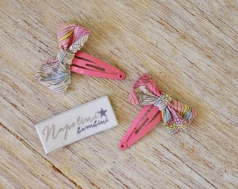Liberty Bow Hair Clips - Liberty Angelica Garla print on pink clips