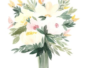 Peony Art Print, Peony Bouquet Painting, Watercolor Flowers Art, Floral Wall Decor, Girl Nursery Watercolor Painting, Botanical Illustration