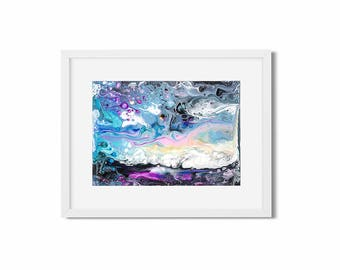 Original abstract fluid art painting by acrylic pouring technique  on tick paper Interior art Wall art Galaxy Constellation Purple Decor