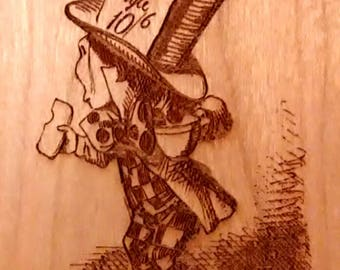 """Alice's Adventures in Wonderland Engraved Book Page:  Chapter 12, """"Alice's Evidence"""",  Solid Cherry, Lewis Carroll, Sir John Tenniel"""