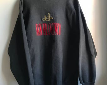 90s Black San Francisco Sweatshirt - XL