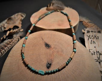Hazel wood and Turquoise Native American necklace