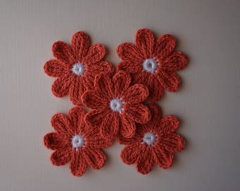 5 pcs Handmade Crochet Flowers 8 petals