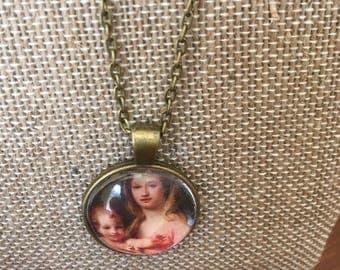 Madonna and child glass tile necklace