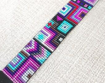 Pink Purple Turquoise Miyuki Bracelet with black suede ending / Beaded Bracelet / Boho Style / Miyuki Bead Bracelet / Miyuki Delica