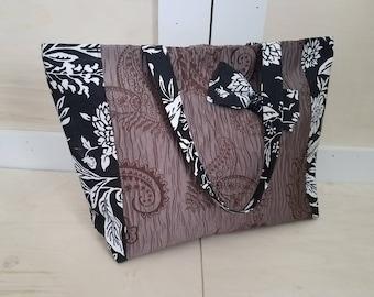 Large Brown Paisley Tote Bag