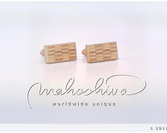wooden cuff links wood alder maple handmade unique exclusive limited jewelry - mahoshiva k 2017-44