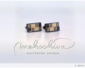 wooden cuff links wood fumed oak maple handmade unique exclusive limited jewelry - mahoshiva k 2017-118