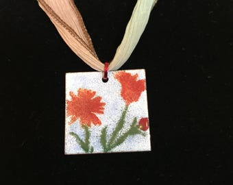 Handmade enameled copper pendant with optional silk ribbon necklace