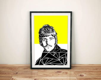 Ringo Starr Unique Contemporary Geometric Art print in yellow size A4 or A3