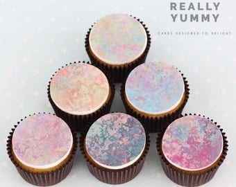 Purple marble cupcake toppers - 6