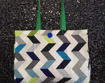 Striped Canvas Tote Bag with Contrasting Handle