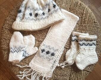 100% alpaca wool hand knit baby layette
