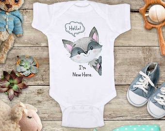 Hello I'm New Here. Cute baby raccoon Baby bodysuit - cute birthday baby shower gift baby birth pregnancy announcement