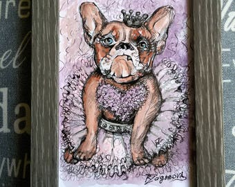 French Bulldog Ballerina Watercolor Painting / Perfect Valentine's Day Gift