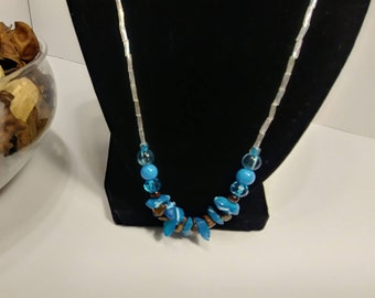Shell and stone beaded necklace