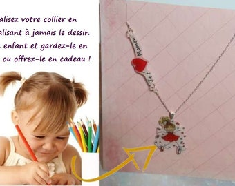 Necklace personalized with child's drawing