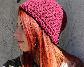 Women's Chunky Handmade Crochet Beanie - Burgundy Beanie - Red - Women's Beanie - Women's Hat - Gift for Her