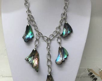 158 Long Boho style Abalone/Maua shell necklace.