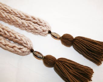 Hand knitted beige curtain tie backs, hand made dark brown tassel style pom poms, beads, ready to hang