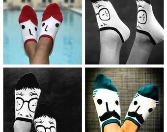 socks with faces, facesies, footies, crazy socks, novelty socks, wild socks, different socks, socks, stylish socks, different socks, playful