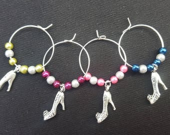 Shoe Wine Glass Charm with Different Coloured Beads