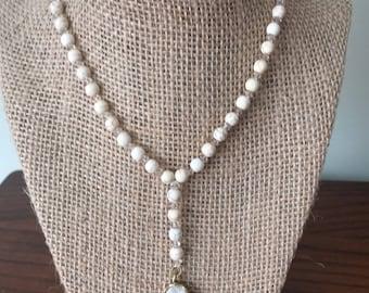 White Druzy Y Necklace