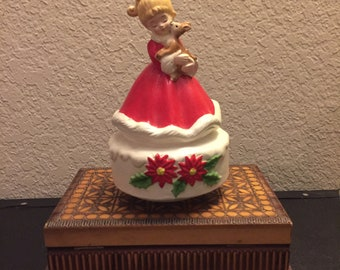 Josef Originals Christmas Music Box, Girl with Baby Deer, WORKS! Made in Japan