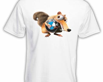 BMW Ice Age Scrat Logo Car T-shirt Hand Drawn Design Best For Gift Made by Kornit Printer