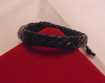 Genuine black leather woven bracelet