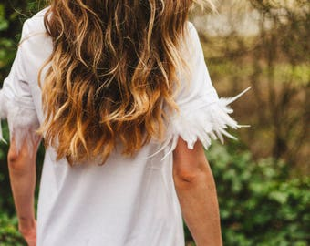 White Feather Trimmed T-shirt