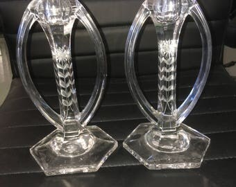 Art Deco Etched Glass Candle Stick Holders