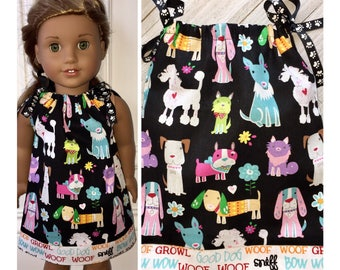 "18"" Doll Clothes/Pillowcase Dress/American Girl Dress/Dogs"