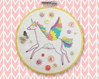 Pastel Unicorn Embroidery KIT with Sequins