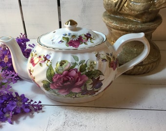 Vintage Arthur Wood Staffordshire England Floral Teapot Beautiful Teapot oh so Collectible, Gift/Collectible/Tea Time/Tea Party