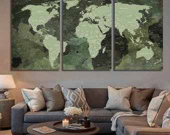Push Pin World Map Detailed World Map Travel Map Canvas Art World Map Wall Art World Map Canvas Print Panel Art Map of the World Wall Decor