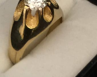 1 KT- CG Mens Gold Ring 14kt Setting Size 11