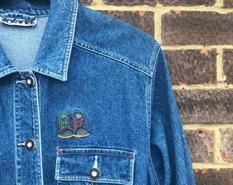 Vintage Italian denim shirt / jacket with embroidered shoes