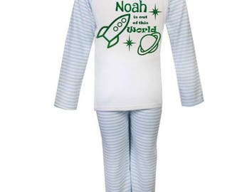 Boy's stripy blue pyjamas personalised out of this world green print