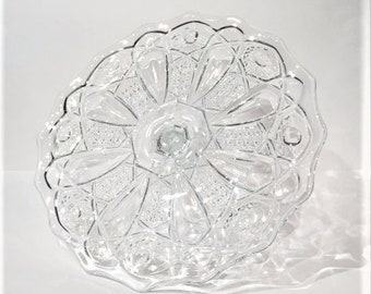 Glass Cake Stand, McKee Quintec Pressed Glass Cane Button Pattern Cake Plate, Wedding Cake Stand