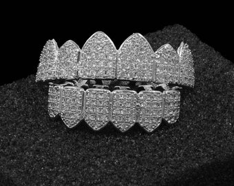 New Custom Platinum Silver Plated High Quality Big CZ Iced Out Top & Bottom GRILLZ Mouth Teeth