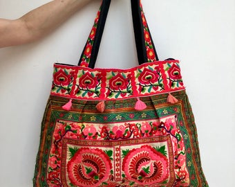 Vietnamese Embroidered Patterned  Tote mag Bag
