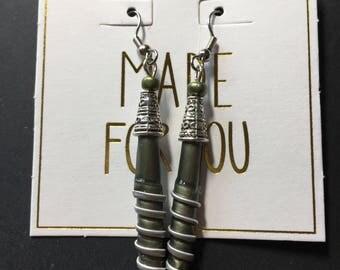 Spiral green earrings.