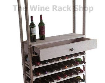 Wood Wine Rack With Drawer and Stemware Holders