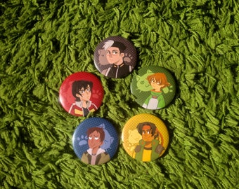 "Voltron 2.25"" Buttons: Shiro, Keith, Lance, Hunk, Pidge"