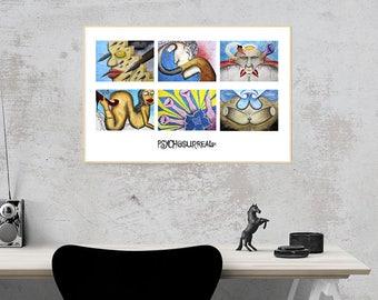 Psychosurrealism landscape collage print 1 - original surreal art, popsurreal, folk art, outsider art, underground art, weird art