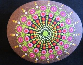 Hand Painted Mandala Rock