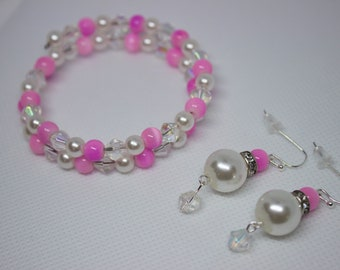 Pink and dainty jewelry set